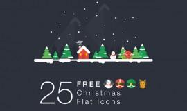 25 Flat Christmas Icons Set