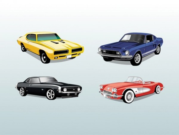 4 Legendary Vintage Sports Cars Vector Set web vintage vector unique ui elements stylish sports set retro quality Pontiac pdf original new Mustang interface illustrator hot rods high quality hi-res HD graphic fresh free download free ford elements download detailed design creative classic chevrolet charger cars ai