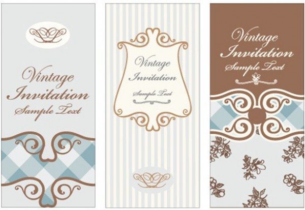 3 Vintage Scroll Pattern Vector Invitations web vintage vector unique ui elements stylish scroll retro quality quaint pattern original old fashioned new invitation interface illustrator high quality hi-res HD graphic fresh free download free floral elements download detailed design creative brown blue