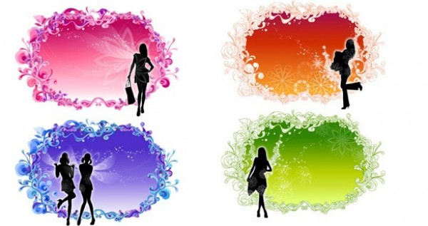 4 Fancy Floral Frames Girl Silhouettes Set web vector unique ui elements stylish silhouettes shopping quality purple pink original orange new interface illustrator high quality hi-res HD green graphic girl fresh free download free frames floral elements download detailed design creative blue backgrounds