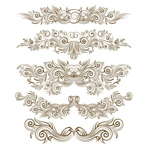 Delicate Line Pattern Vector Ornaments web vector unique ui elements swirl stylish scroll quality pattern ornament original new lines interface illustrator high quality hi-res HD graphic fresh free download free floral elements download detailed design delicate decoration creative border