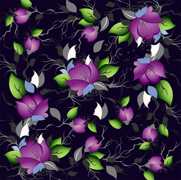 Elegant Floral Pattern On Black Background vector seamless purple pattern free download free flowers floral black background