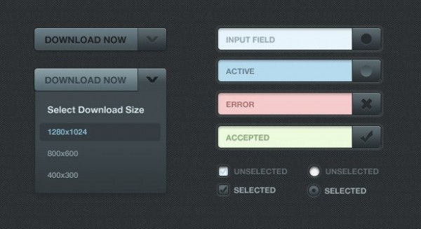 Sleek Dark Web UI Elements PSD web unique ui elements ui stylish simple select search quality original new modern interface input hi-res HD fresh free download free elements download detailed design dark creative clean buttons bar