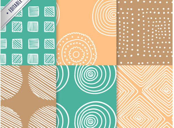 6 Freestyle White Lines Vector Patterns squares seamless patterns hand drawn dots circles background