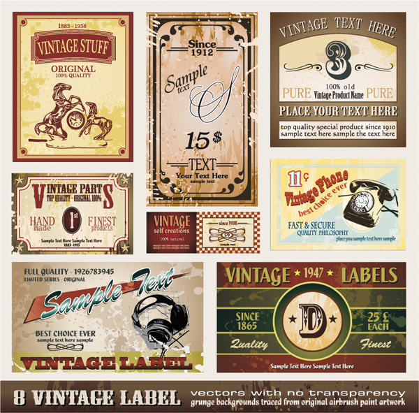9 Vintage Style Poster Labels Vector Set western vintage vector retro poster retro ads retro phone labels horse free download free advertising ads
