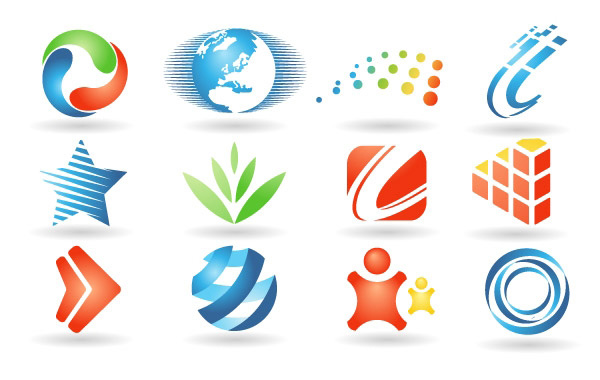 12 Colorful Company Logos Vector Set vector set people logotype logos leaves globe free download free