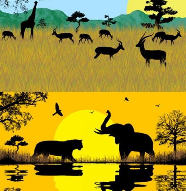 5 African Safari Animal Vector Silhouettes wild animals web vector unique sunset sunrise sun stylish silhouettes safari quality original lion illustrator hot high quality graphic giraffe fresh free download free elephant download design creative background african safari Africa
