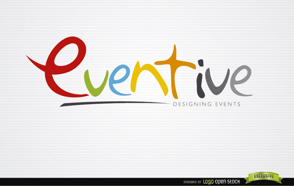 Eventive Colorful Typeface Logo typeface logotype logo font eventive event colorful
