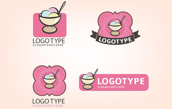 4 Vintage Style Ice Cream Shoppe Logos vintage shoppe shop retro pink logotypes logos ice cream