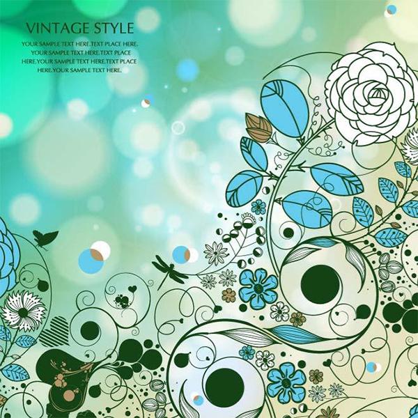 Vintage Floral Art Vector Background vintage garden floral bubbles bokeh blue background