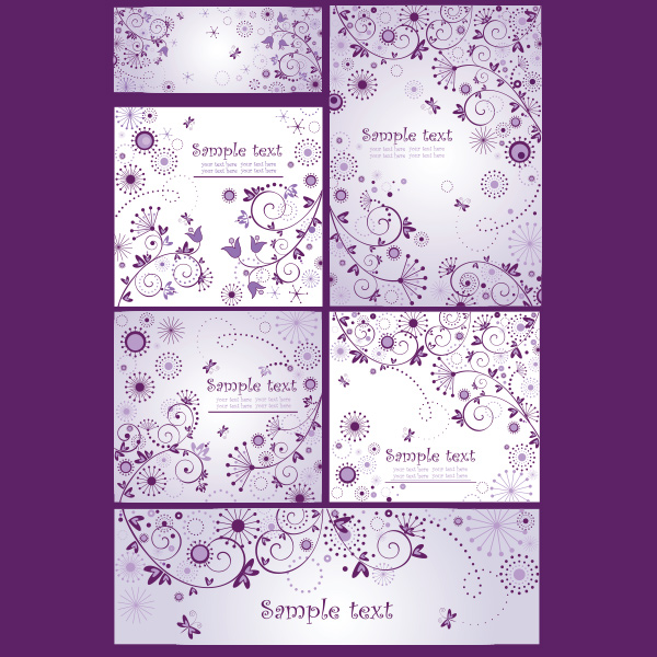 6 Dainty Flower Swirl Abstract Backgrounds Set vector purple hearts free flowers floral delicate dainty card banners background