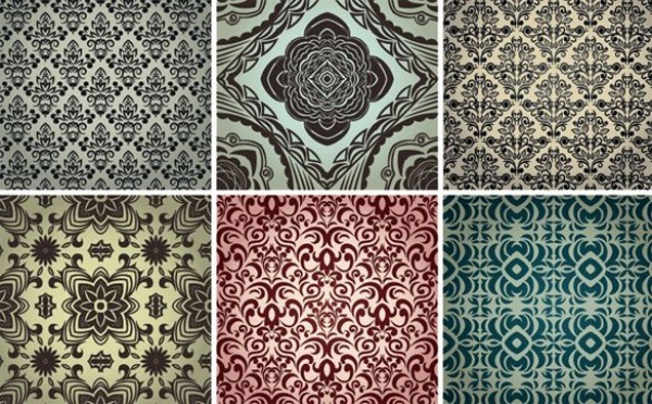 6 Vintage Damask Seamless Vector Patterns web vintage vector unique stylish retro repeatable quality pattern original illustrator high quality graphic fresh free download free floral elegant download design damask creative background