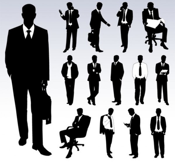 14 Distinguished Businessmen Silhouettes web vector unique suit and tie stylish silhouettes quality original men illustrator high quality graphic fresh free download free eps download design creative businessmen businessman business