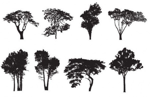 8 Tree Silhouette Vector Pack vectors vector graphic vector unique ultra ultimate trees simple silhouettes quality photoshop pack original new nature modern illustrator illustration high quality graphic fresh free vectors free download free forest eco download detailed creative clear clean ai