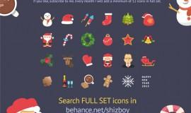 24 Flat Christmas Icons Set PSD 373