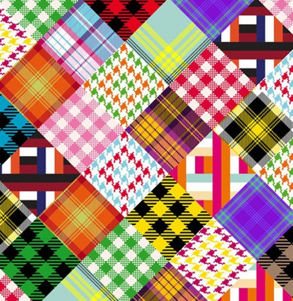 Totally Retro Crazy Quilt Vector Pattern woven vintage vector unique seventies retro pattern old fashioned illustrator free download free download design creative crazy quilt cloth checkered checked 70's