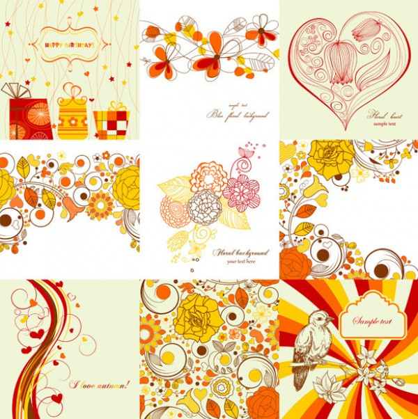 9 Exquisite hand-painted vector pattern pack vintage vector tile textures stylish retro repeatable tile red tone psd source photohsop resources pattern pastel colors paint orange hand painted free vectors