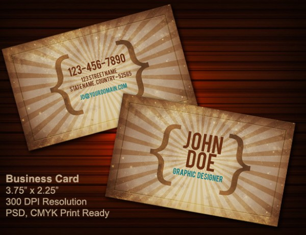 Vintage Business Card vintage retro psd photoshop old school designer card business card brown