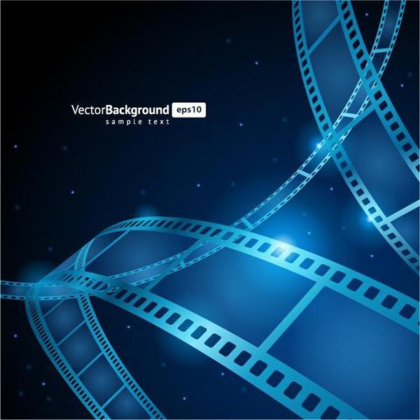 Dark Film Strip Vector Background pirctures movies film strip dark cinema blue background