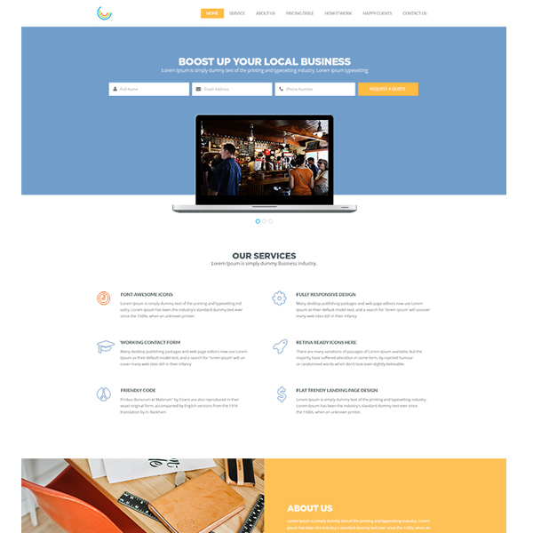 Organized Pro Business Theme PSD Website website theme testimonials responsive psd pricing tables newsletter minimal contacts business about us