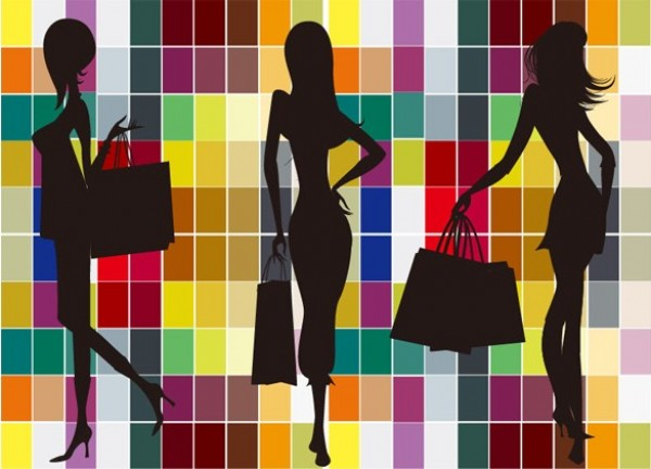 Fashion Shopping Girls Silhouette Background web vector unique stylish squares silhouettes shopping bags shopping quality original new mosaic illustrator high quality graphic girls geometric fresh free download free fashion eps download design creative colorful background
