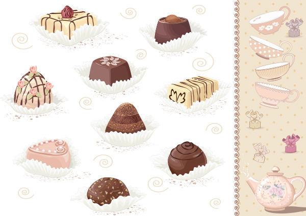 Decorative Tea & Sweets Vector Card Background vector teapot tea sweets gift free chocolates card candy background