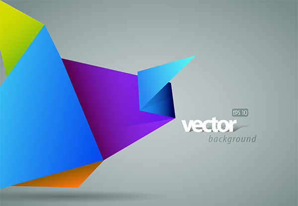 Vivid Color Origami Vector Background origami free folded paper colorful background