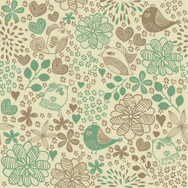 Lovely Vintage Floral Bird Pattern Background web vintage vector unique ui elements stylish seamless quality quaint pattern original old fashioned new interface illustrator high quality hi-res hearts HD hand drawn graphic fresh free download free flowers floral eps elements drawn download detailed design creative bird background