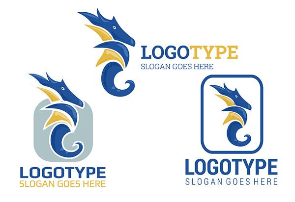3 Blue Seahorse Logo Logotypes typeface seahorse logotype logo gold font blue