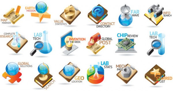 18 kinds of industries Vector LOGO pack vector source files vector tube test telescope star radar professional photoshop resources ph nut map magnifying glass logo industry icon pack icon high quality glossy free vectors free psd free icons earth container cartoonish book