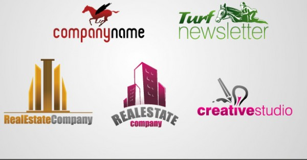 5 Quality Logo Template Collection vectors turf template studio Real quality logo horse free vectors free downloads Estate download creative collection business building
