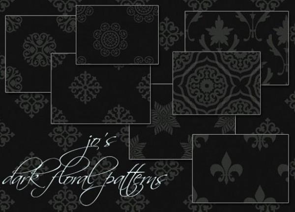 10 Free Dark Floral PS Patterns Set web unique stylish simple seamless quality patterns original new modern hi-res HD fresh free download free floral download design dark floral pattern dark creative clean black