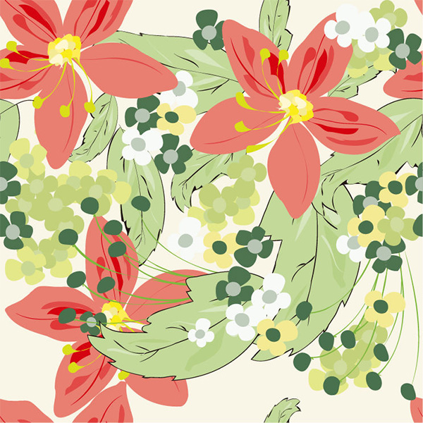 Soft Seamless Floral Abstract Pattern Background vector seamless pattern orange green free download free flowers floral background abstract