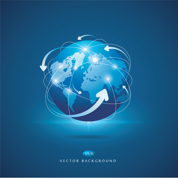 Around the Earth Global Vector Background world map vector globe global free download free earth concept blue background arrows