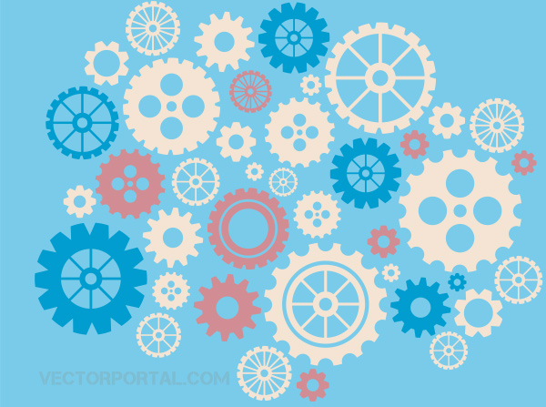 Abstract Gear Wheels Vector Background wheels vector pattern gears background gears free blue background abstract