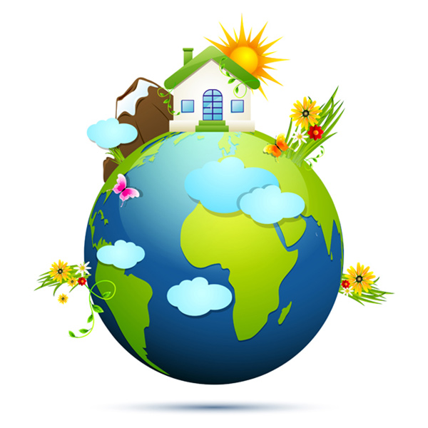 Earth Nature Vector House & Ecology Graphic vector sunshine nature house green free floral ecology eco earth clean