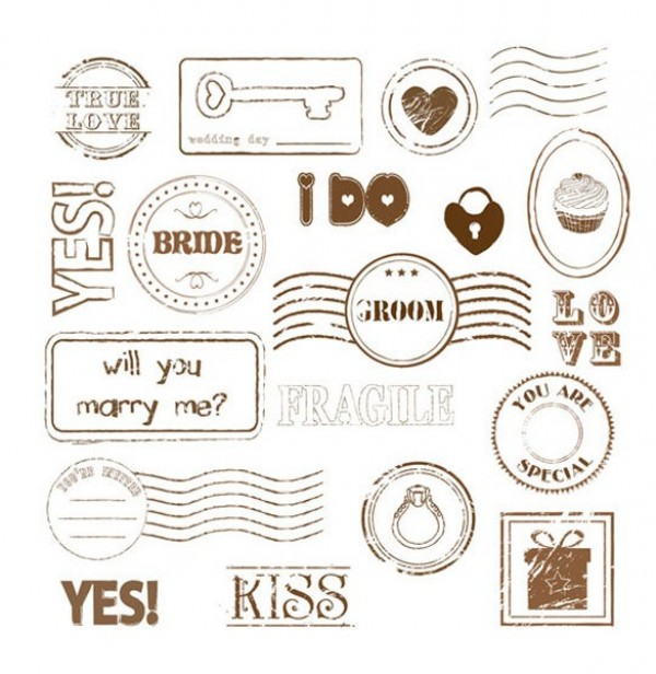 True Love Marry Me Stamp Vectors web vector unique ui elements stylish stamp seal quality original official new marry me love Kiss interface illustrator I do high quality hi-res HD groom graphic fresh free download free elements download detailed design creative bride authentic approved