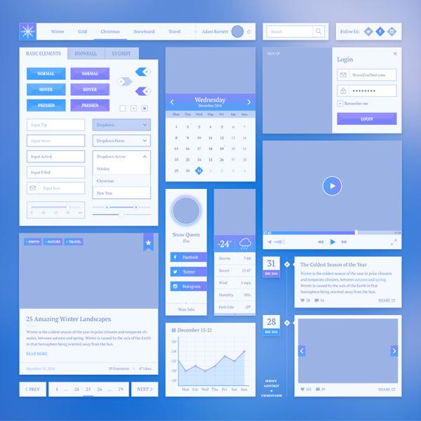Snowflake UI Elements Kit ui kit ui elements snowflake mobile apps app
