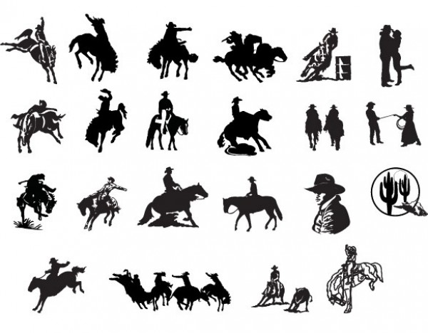 18 Western Country Cowboy Vector Silhouettes western web vector unique stylish silhouettes quality original new illustrator horses high quality graphic fresh free download free download design creative cowboy silhouette cowboy country bucking horse