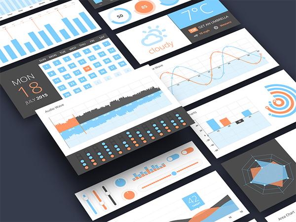 3D Charts Graphs UI Elements Set vector ui elements infographics graphs charts