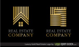 2 Luxury Gold Real Estate Logotypes Set