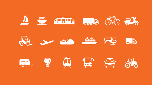 18 Detailed Transport Vector Travel Icons travel icons transport train tractor set plane icons helicopter free car bus boat