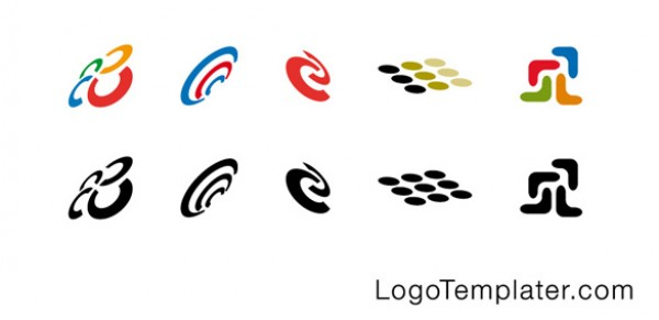 Set of 8 Swirl Logo Templates vectors vector graphic vector unique swirl quality photoshop pack original modern logo illustrator illustration high quality fresh free vectors free download free download dots. simple creative ai