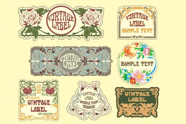 7 Vintage Floral Art Vector Labels Set vintage vector set labels free download free floral labels floral