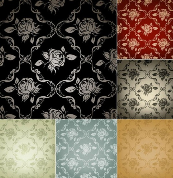 6 Exquisite Rose Pattern Vector Backgrounds web vintage roses vintage vector unique stylish seamless roses background roses quality pattern original illustrator high quality graphic fresh free download free download design creative background