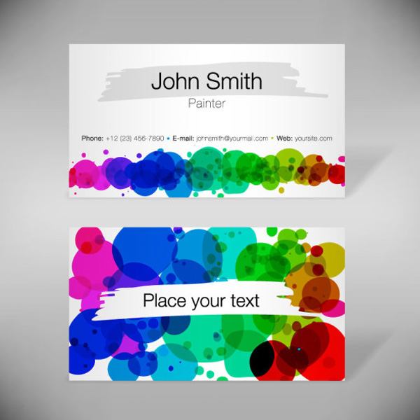 2 Colorful Abstract Business Cards Set web vector unique ui elements stylish set quality presentation paint original new interface illustrator identity high quality hi-res HD graphic fresh free download free eps elements download detailed design creative colors colorful circles cards business cards abstract