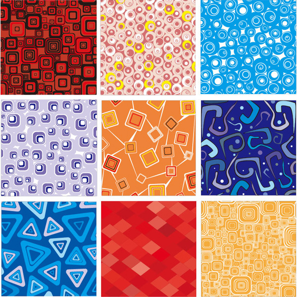 9 Retro Shapes Abstract Patterns Set vector triangles squares shapes set retro pattern free download free circles background abstract