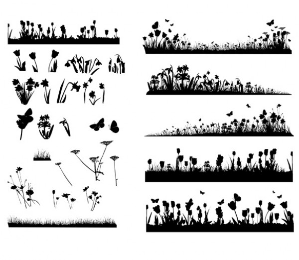 27 Flowers Grass Silhouettes web vectors vector graphic vector unique ultimate ui elements silhouettes quality psd png photoshop pack original new modern jpg illustrator illustration ico icns high quality hi-def HD grasses grass fresh free vectors free download free flowers elements download design creative butterflies. butterfly background ai