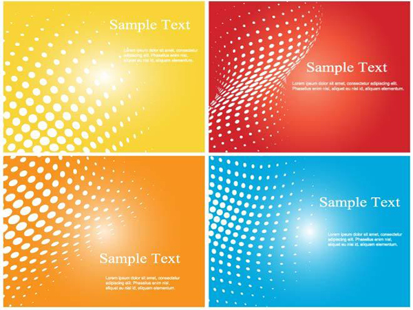 4 Halftone Colorful Banners Set yellow set red halftone dotted dots blue banners
