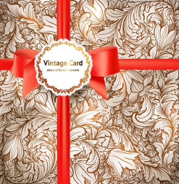 Vintage Vector Floral Card & Ribbon web vintage vector unique ultimate ui elements stylish ribbon quality pattern pack ornament original new modern interface illustration high quality high detail hi-res HD graphic gift wrap gift fresh free download free floral card floral elements download detailed design creative bow background